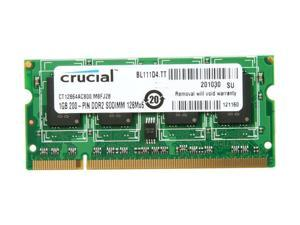 Crucial 1GB 200-Pin DDR2 SO-DIMM DDR2 800 (PC2 6400) Laptop Memory Model CT12864AC800