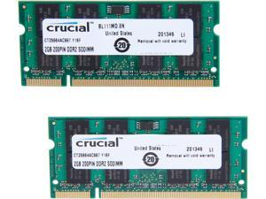 Crucial 4GB (2 x 2GB) 200-Pin DDR2 SO-DIMM DDR2 667 (PC2 5300) Laptop Memory Model CT2KIT25664AC667