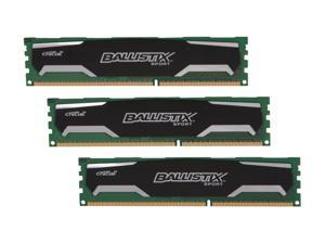 Crucial Ballistix Sport 6GB (3 x 2GB) 240-Pin DDR3 SDRAM DDR3 1600 (PC3 12800) Desktop Memory Model BLS3KIT2G3D1609DS1S00