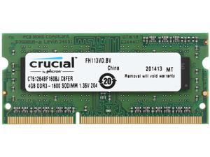 Crucial 4GB 204-Pin DDR3 SO-DIMM DDR3L 1600 (PC3L 12800) Laptop Memory Model CT51264BF160BJ