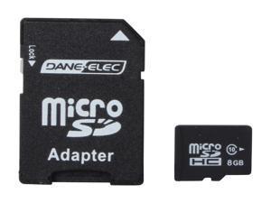 DANE-ELEC 8GB microSDHC Flash Card with SD Adapter Model DA-2in1C1008G-R