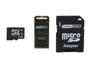 DANE-ELEC 32GB microSDHC Flash Card Universal Connectivity Kit with SD & USB Adapter Model DA-3IN1-32G-R