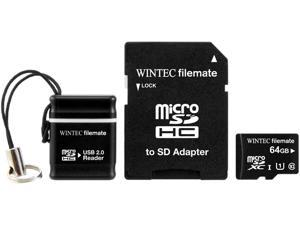 Wintec FileMate 64GB microSDHC Professional Plus UHS-I U1 C10 Card With USB and SD Adapter Retail Black Model 3FMUSD64GU1PI-MR