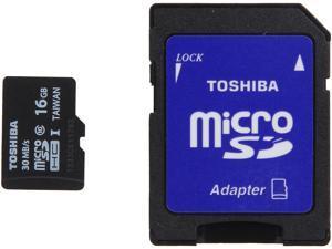 Toshiba 16GB microSDHC Flash Card With Adapter Model PFM016U-1DCK