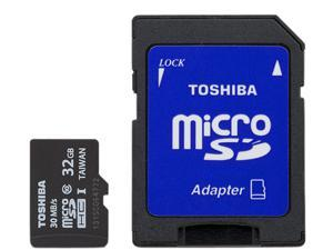 Toshiba 32GB microSDHC Flash Card With Adapter Model PFM032U-1DCK