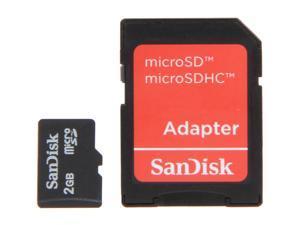 SanDisk 2GB MicroSD Flash Card w/ Adapter Model SDSDQM-002G-B35A