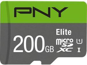 PNY 200GB Elite microSDXC UHS-I/U1 Class 10 Memory Card with Adapter, Speed Up to 85MB/s (P-SDU200U185EL-GE)