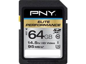 PNY 64GB Elite Performance SDXC UHS-I/U3 Class 10 Memory Card, Speed Up to 95MB/s (P-SDX64U395-GE)
