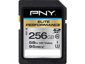 PNY 256GB Elite Performance SDXC UHS-I/U3 Class 10 Memory Card, Speed Up to 95MB/s (P-SDX256U395-GE)
