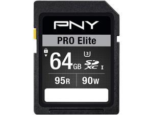 PNY 64GB PRO Elite SDXC UHS-I/U3 Class 10 Memory Card, Speed Up to 95MB/s (P-SDX64U395PRO-GE)