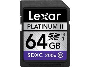 Lexar 64GB Secure Digital Extended Capacity (SDXC) Platinum II Class 1 UHS-I Flash Card Model LSD64GBSBNA2002