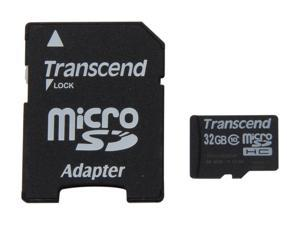 Transcend 32GB microSDHC Flash Card with Adapter Model TS32GUSDHC10