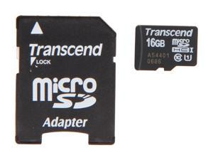 Transcend UHS-I 16GB microSDHC Flash Card with Adapter Model TS16GUSDU1