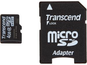 Transcend 4GB microSDHC Flash Card with Adapter Model TS4GUSDHC4