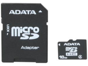 ADATA 16GB Class 4 Micro SDHC Flash Card with Adapter Model AUSDH16GCL4-RA1