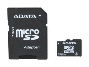 ADATA 32GB microSDHC Flash Card with Adapter Model AUSDH32GCL4-RA1