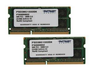 Patriot 8GB (2 x 4GB) 204-Pin DDR3 SO-DIMM DDR3 1333 (PC3 10600) Laptop Memory Model PSD38G1333SK