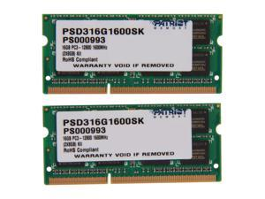 Patriot Signature 16GB (2 x 8G) 204-Pin DDR3 SO-DIMM DDR3 1600 (PC3 12800) Laptop Memory Model PSD316G1600SK