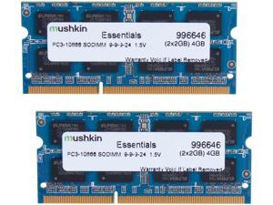 Mushkin Enhanced Essentials 4GB (2 x 2GB) 204-Pin DDR3 SO-DIMM DDR3 1333 (PC3 10666) Dual Channel Kit Laptop Memory Model 996646