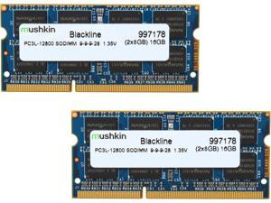 Mushkin Enhanced Blackline 16GB (2 x 8G) 204-Pin DDR3 SO-DIMM DDR3L 1600 (PC3L 12800) Laptop Memory Model 997178