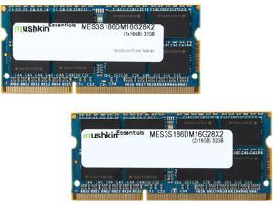 Mushkin Enhanced Essentials 32GB (2 x 16G) 204-Pin DDR3 SO-DIMM DDR3L 1866 (PC3L 14900) Laptop Memory Model MES3S186DM16G28X2