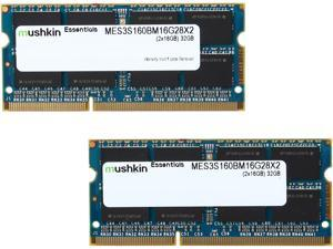 Mushkin Enhanced Essentials 32GB (2 x 16G) 204-Pin DDR3 SO-DIMM DDR3L 1600 (PC3L 12800) Laptop Memory Model MES3S160BM16G28X2