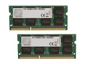 G.SKILL 16GB (2 x 8G) 204-Pin DDR3 SO-DIMM DDR3 1600 (PC3 12800) Laptop Memory Model F3-1600C10D-16GSQ