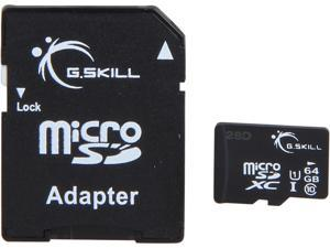 G.Skill FF-TSDXC64GA-U1 64GB Class 10 microSDXC Memory Card with Adapter - Black
