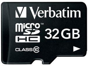 Verbatim 32GB microSDHC Flash Card w/ Adapter Model 44083