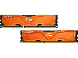 Team Vulcan 8GB (2 x 4GB) 240-Pin DDR3 SDRAM DDR3 1600 (PC3 12800) Desktop Memory (Orange Heat Spreader) Model TLAD38G1600HC9DC01