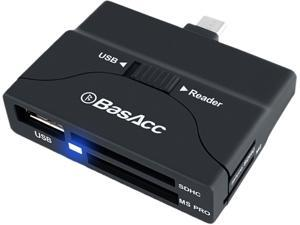 BasAcc Micro USB OTG to USB / SD Memory Card Reader Adapter supports USB Flash Drive, USB Mouse, Keyboard, Memory Cards SD, Micro SD, MS, M2 , Black