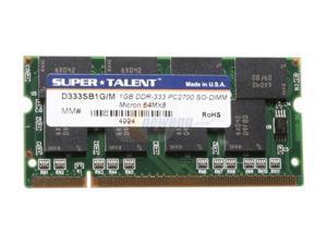 SUPER TALENT 1GB 200-Pin DDR SO-DIMM DDR 333 (PC 2700) Laptop Memory Model D333SB1G/M
