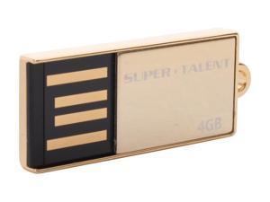 SUPER TALENT PICO_C 4GB Flash Drive (USB2.0 Portable) with Gold Plated Model STU4GPCG