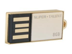 SUPER TALENT PICO_C 8GB Flash Drive (USB2.0 Portable) with Gold Plated Model STU8GPCG