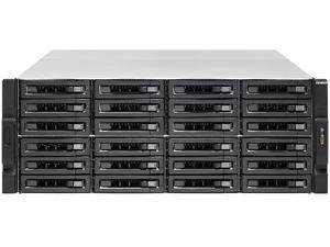 QNAP 24-bay 10GbE NAS and iSCSI/ IP-SAN. 4U, SAS 12G, SAS / SATA 6G, 4 x 1GbE, Build in 2 x 10GbE (SFP+), 40GbE-ready, Redundant PSU