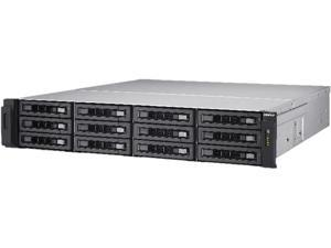 QNAP 12-bay 10GbE NAS and iSCSI/ IP-SAN. 2U, SAS 12G, SAS / SATA 6G, 4 x 1GbE, Build in 2 x 10GbE (SFP+), 40GbE-ready, Redundant PSU