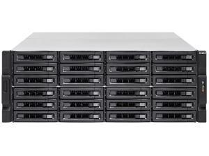 QNAP 24-Bay 10GbE iSCSI NAS, 4U, SATA 6G, 4 x 1GbE, 2 x 10GbE (SFP+), 40GbE-ready, Redundant PSU