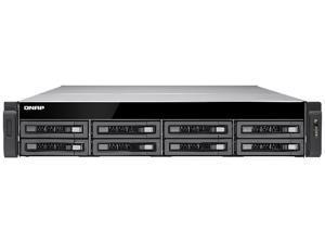 QNAP 8-Bay 10GbE iSCSI NAS, 2U, SATA 6G, 4 x 1GbE, 2 x 10GbE (SFP+), 40GbE-ready, Redundant PSU