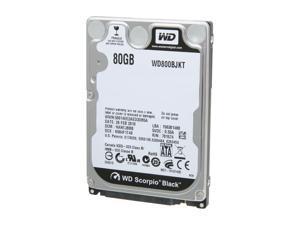 "WD Scorpio Black WD800BJKT 80GB 7200 RPM 16MB Cache SATA 3.0Gb/s 2.5"" Internal Notebook Hard Drive Bare Drive"