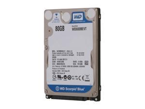 "WD Scorpio Blue WD800BEVT 80GB 5400 RPM 8MB Cache SATA 3.0Gb/s 2.5"" Internal Notebook Hard Drive Bare Drive"