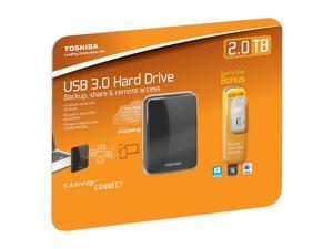 TOSHIBA 2TB Canvio Connect Portable Hard Drive with 32GB USB 2.0 Flash Drive Value Pack (Club) USB 3.0 Model HDTC720CK3C1 ...