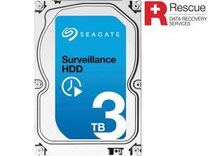 "Seagate Surveillance HDD ST3000VX005 3TB 64MB Cache SATA 6.0Gb/s 3.5"" Internal Hard Drive + Rescue Data Recovery Services"