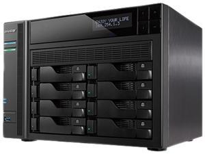 Asustor AS7008T 8-Bay NAS, Intel Core i3 3.5 GHz Dual-Core, 2GB DDR3, GbE x 2, HDMI, SPDIF, PCI-E (10 GbE ready), USB 3.0 & SATA, LCD Panel, WoL, System Sleep Mode, with lockable tray
