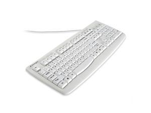 Kensington K64406US White USB or PS/2 Wired Standard Washable Keyboard with Antimicrobial Protection