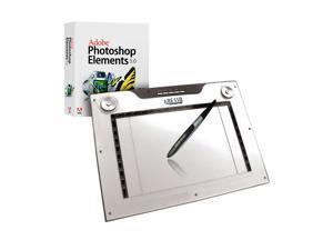 "Adesso CyberTablet M14 12.00"" x 7.50"" Widescreen Media USB Graphic Tablet, 4000 lpi dual mode, 34 programmable Macro keys and bundle with Arcsoft PhotoStudio 6 & Artrage 2.6"