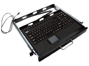 "ADESSO 19"" 1U Rackmount Keyboard Drawer with Scissor-Switch Touchpad Keyboard AKB-421UB-MRP Black Wired Keyboard"