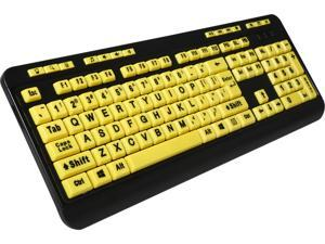 Adesso AKB-132UY EasyView Luminouse high contract  4X large print yellow keycap, multimedia USB keyboard, for low vision