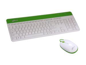 LOGISYS Computer KBMS801WG White / Green USB Wired Standard Keyboard Mouse Combo w Built-in USB ports and 2 Audio Jacks