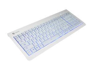 i-Rocks KR-6820E-WH White 104 Key USB Wired Backlit Gaming Keyboard (Blue LED)