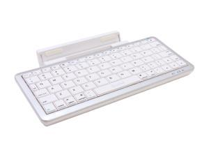 Connectland CL-KBD23024 Silver / White Bluetooth Wireless Keyboard with Detachable Stand, Small Foot-print Easily Fits Inside ...